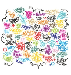 Multiple urban art and graffiti tags slogans vector