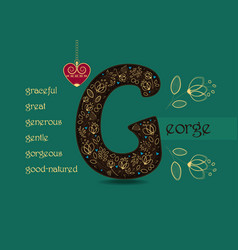 Name day greeting card with flowers and letter g vector