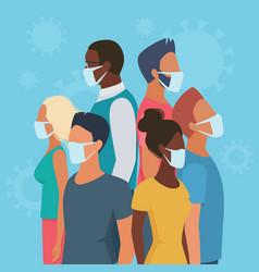people group in masks in circle coronavirus flat vector image