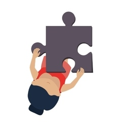 Person with puzzle pieces game icon vector
