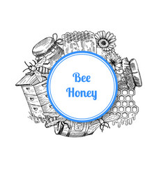 pile of hand drawn honey elements vector image