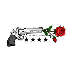 print for t-shirts with guns and roses vector image