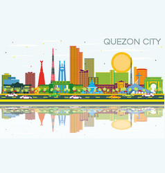Quezon city philippines city skyline with color vector