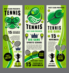 racket ball and tennis trophy banners vector image