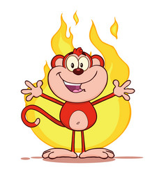 Red monkey cartoon character welcoming over flames vector