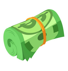Rolled dollars icon isometric style vector