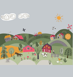 Rural landscape with cute vector