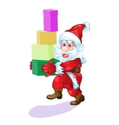 Santa with gifts hurries to please all people vector image