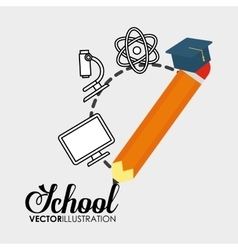 School pencil graduation elements icon vector