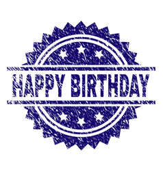 Scratched textured happy birthday stamp seal vector
