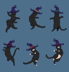 set black cats in witch hats vector image