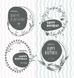 Set floral stamps birthday vector