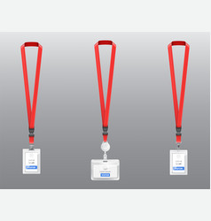 Set of id cards badges with red lanyards vector