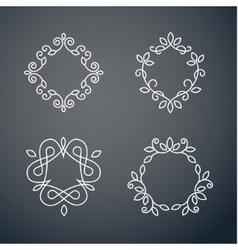 Set of outline monogram 02 vector image
