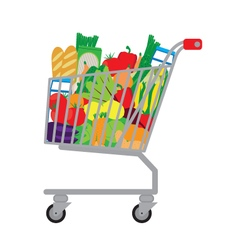 Shopping cart with fresh food vector