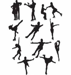 Silhouettes of figure skaters vector