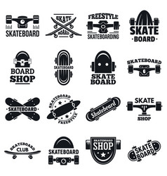 skateboard logo set simple style vector image