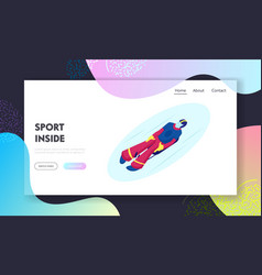skeleton sport website landing page athlete lying vector image