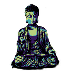 sketch with buddha drawing by vector image