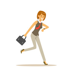Smiling young woman character running to work vector