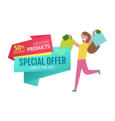 special offer banner with person shopping vector image