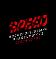 speed style font alphabet and numbers vector image