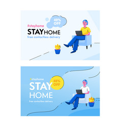 Stay home concept awareness social media campaign vector