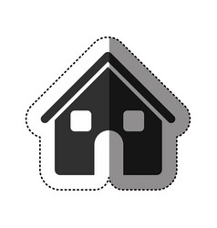 Sticker of black silhouette of house two floors in vector