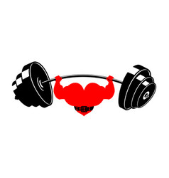 Strong heart and barbell powerful love athlete vector