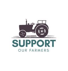 support our farmer logo template farming badge vector image