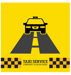 taxi icon taxi service taxi car running on road vector image