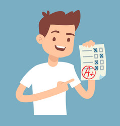 Teen student holding paper with perfect school vector