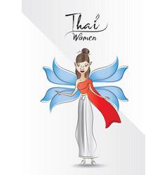 thai women in thai traditional dress vector image