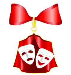 theatrical mask with a red ribbon vector image
