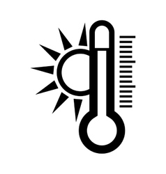 Thermometer and sun icon vector