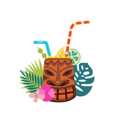 tiki cocktail mug with fresh tropical drink straw vector image