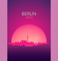 Travel poster futuristic retro skyline berlin vector