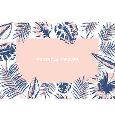 Tropical background decorated by frame made of vector