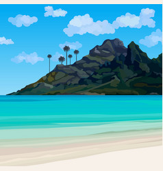 tropical coastline with blue water and a mountain vector image