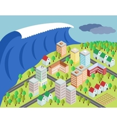 Tsunami covering city vector