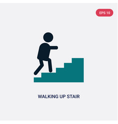 two color walking up stair icon from maps and vector image