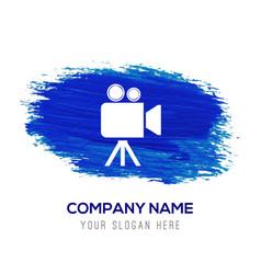 Video camera icon - blue watercolor background vector