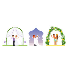 wedding arches set newlywed couples at marriage vector image