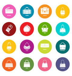woman bag types icons set colorful circles vector image
