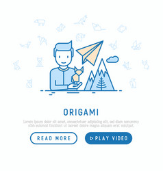 workshop concept man with origami fox in hand vector image