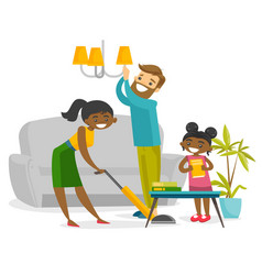 Young happy multiracial family cleaning house vector