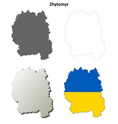 Zhytomyr blank outline map set vector image