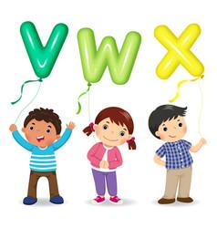 cartoon kids holding letter vwx shaped balloons vector image