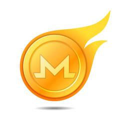 Flaming monero coin symbol icon sign emblem vector