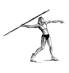 Hand sketch athlete throwing a javelin vector image vector image